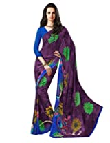 Purple Color Georgette Printed Saree with Blouse 7016