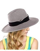 NYfashion101 Lightweight Solid Color Band Braided Panama Fedora Sun Hat Gray