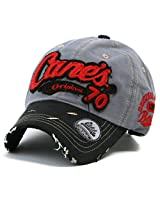 ililily Distressed Vintage Cotton embroidered Baseball Cap Snapback Trucker Hat Gray AD