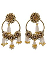 Hyderabadi Abhushan earrings with flower shaped gold color pearls