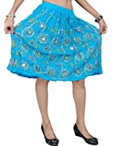 Exotic India Midi-Skirt With Embroidered Sequins and Printed Flowers - Color Norse BlueGarment Size Free Size