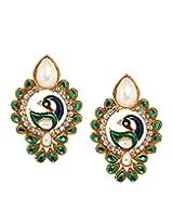 Bindhani Traditional Green Peacock Earrings For Women