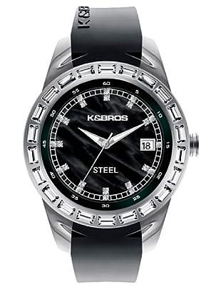 K&BROS 9166-2 / Reloj de Señora  con correa de caucho negro
