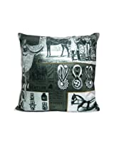 """The Bombay Store Cotton Cushion Cover - Newspaper print L 16"""" H 16"""""""