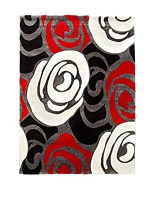 Contemporary Kitchen Alfombra Rose Red And Black Rojo/Negro