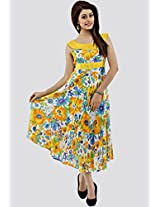 Sleeve Less Printed Yellow Dress
