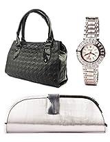 Fidato Combo Of Women Handbag Clutch And Watch FD241