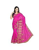 Chandra Silk Mills Pink Embroidered Trendy Saree