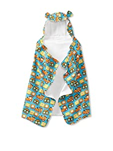 My Blankee Baby Hooded Towel with Ears (Trains Turquoise)