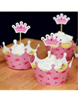 12Pcs Pink Princess Crown Baked Cupcake Cup Paper Muffin Cake Topper