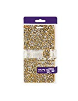 Reiko LG M1/LG K7 Jewelry Rhinestone Wallet Case Carrying Case for LG M1/LG K7 - Retail Packaging - Gold