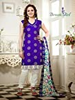 Esha Deol Blue Top Indo Cotton with Indo Cotton Bottom & Net Jacquard Dupatta With Embroidery & Printed Salwar Kameez