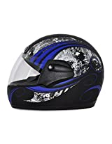 Vega Corah Orna Full Face Graphic Helmet (Dull Black and Blue, M)