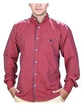 SPEAK Men's Red Plain / Solid Mandarin / Chinese Collar Casual Shirt (38, Red)