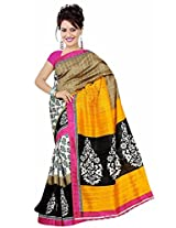Clickedia Women Bhagalpuri Cotton Black White Yellow Beautiful Saree With Attached blouse Pc