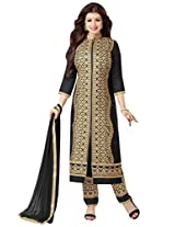 Inddus Women Black Cotton Embroidered Dress Material