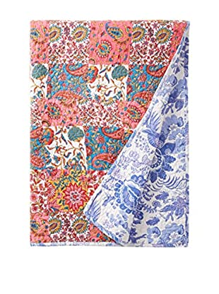North Rodeo Collection Floral Block Hand Stitched Throw, Beige/Multi