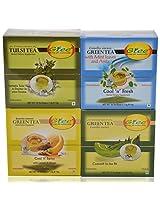 GTEE Tulsi Tea Bags & Green Tea Bags - Regular & Green Tea Bags-Mint & Green Tea Bags - Lemon & Ginger (10 Tea Bags X 4 PACKS)