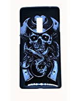 Protective Printed Back cover for One Plus Two ( 1+ 2 ). Print Collection: Black SkullWith Print Embossed Effect