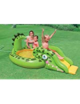 Intex Kids Children Inflatable Gator Adventure Paddling Pool Slide Water Spray Activity Play Center - For Beach, Garden, Outdoors, Summer Fun