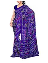 Rajlaxmi Women's Georgette Saree (Blue)