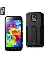 Reiko Hybrid Case with Kickstand for Samsung Galaxy S5 - Retail Packaging - Black