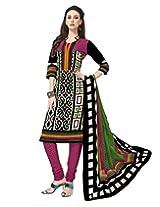 Jevi Prints Black & Pink Cotton Printed Unstitched Dress Material