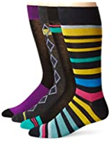 Papi Men's 4 Pack Stripe and Diamond Crew Sock, Yellow/Green, 10-13/Shoe Size 6-12