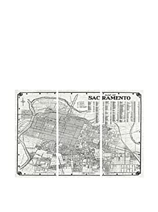 Oliver Gal Map of Sacramento 1938 Triptych Canvas Art