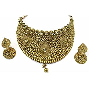 Shingar jewellery antique gold kundan look bridal necklace set for women (6278-as-a)