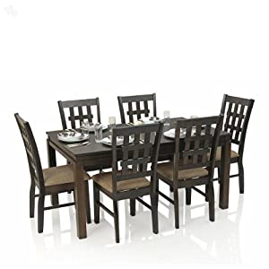Dining Table Set with 6 Chairs Solid Wood - Chequered