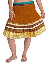 Exotic India Mini-Skirt Ghagra from Jaipur with Gota Border - Color Golden OakGarment Size Free Size