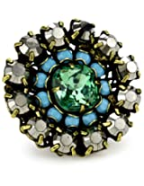 "Liz Palacios ""Circulo"" Large Two Row Crystal Solitaire Inset Adjustable Ring"
