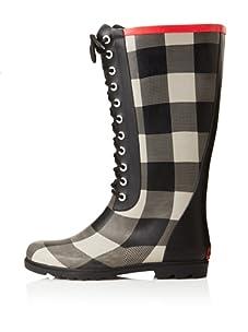 Chooka Women's Buffalo Bone Lace-Up Rain Boot (Charcoal)