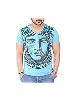 Black Collection Men's V-Neck Cotton T-Shirt (BCSA0025_Blue_Large)