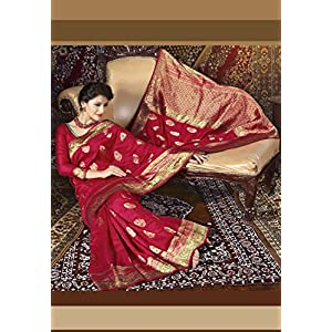 Dark Red Banarasi Art Silk Saree with Blouse
