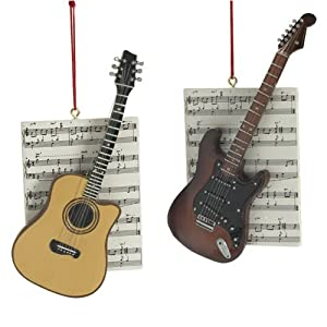 Guitars with Sheet Music Electric and Acoustic Set of 2