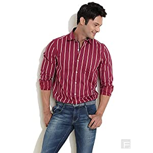 Scullers Sport Striped Casual Shirt, Dark Red