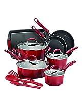 Rachael Ray 14-Piece Hard Enamel Nonstick Cookware Set, Red