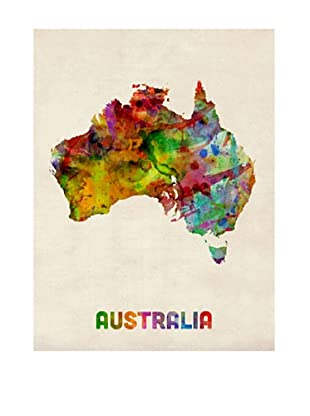 Trademark Fine Art Australia Watercolor Map by Michael Tompsett