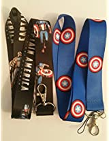 """Marvel Comics The Avengers Captain America 2 Pack (1 Black, 1 Blue) 19"""" Lanyard With Metal Keychain Clasp Gift Box Included"""
