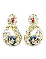 Pink Stone & White Stone Pink & Blue Enamel Gold Plated Peacock Shape Dangle Earrings