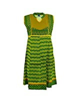 Handicraft Kottage Women's Cotton Green Sleeve Separate Kurti