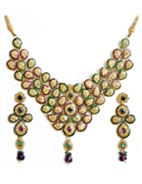 DollsofIndia Faux Citrine, Amethyst and Emerald Studded Lacquered Necklace Set - Stone And Metal - Golden, Yellow