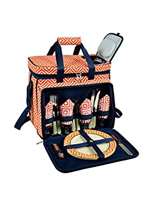 Picnic At Ascot Diamond Collection Cooler For 4, Orange/Navy