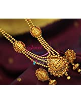 Multi Strand Beaded Laxmi Temple South Jewellery Necklace Set Online Fashion