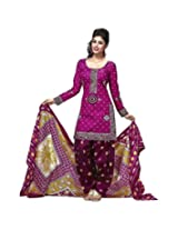 Shee Ganesh Women's Cotton Unstitched Dress Material (824_Pink_Free Size)