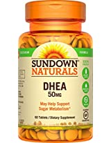 Sundown Naturals DHEA Energy Enhance Dietary Supplement Tablets, 50 mg, 60-Count Bottles (Pack of 3)