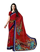 Red Color Georgette Printed Saree with Blouse 7031
