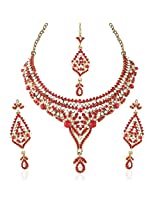 I Jewels Traditional Gold Plated Stone Necklace Set with maang tikka for Women(Red)(M4026R)
